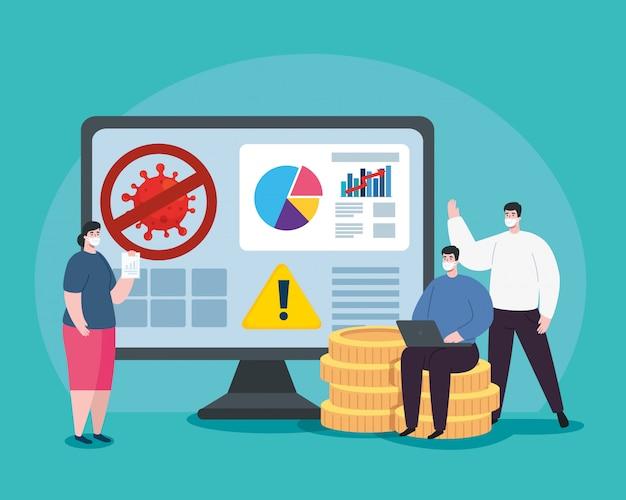 Personas con infografía de recuperación financiera en computadora