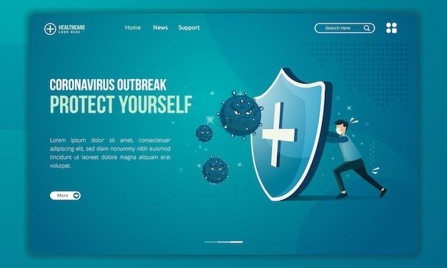 Las personas intentan protegerse de la ilustración de amenazas del virus corona en la página de destino