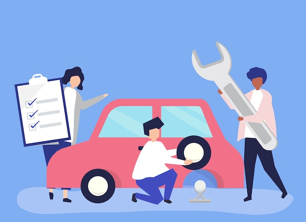Personas intercambiando un neumático de coche.