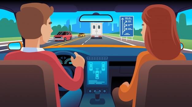 Personas en el interior del coche. asiento de navegación de conductor de viaje que data de pasajeros familiares velocidad de seguridad de taxi, ilustración plana