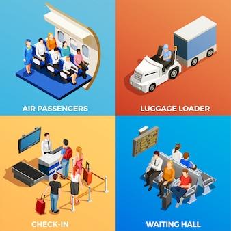 Personas isométricas en el aeropuerto