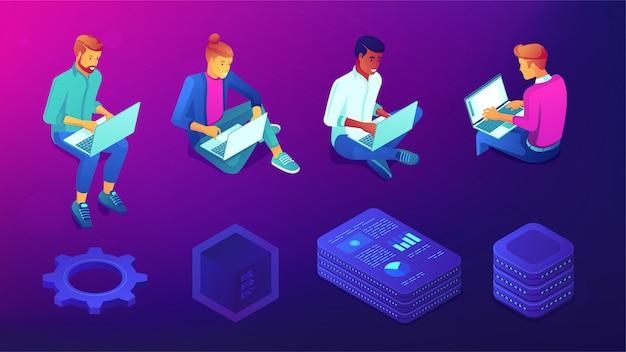 Personas isométricas con computadoras portátiles y conjunto de elementos de tecnología.