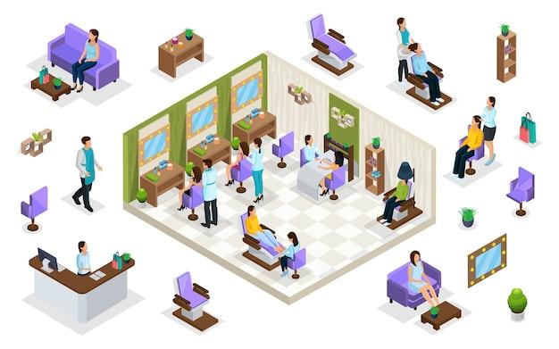 Personas isométricas en concepto de salón de belleza con recepción cuidado del cabello pedicura procedimientos de manicura muebles elementos interiores aislados