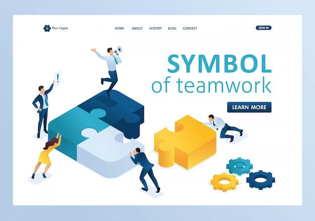 Personas isométricas conectando elementos de rompecabezas. símbolo de la página de inicio del trabajo en equipo