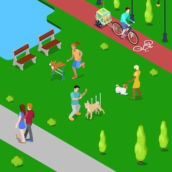 Personas isométricas entrenando perros en el parque de la ciudad