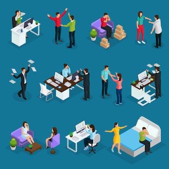Personas isométricas y estrés con diferentes situaciones estresantes en el trabajo en familia y psicólogo visitando aislado