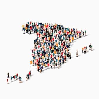 Personas isométricas formando mapa de españa