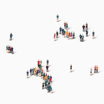 Personas isométricas formando mapa de seychelles