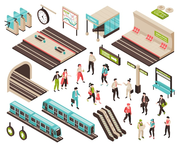 Personas isométricas del metro con personajes aislados de pasajeros en espera de plataformas de trenes y escaleras mecánicas