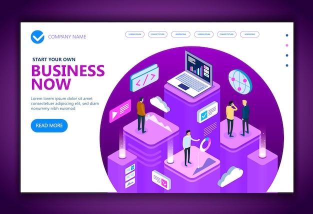 Personas isométricas de negocios que trabajan juntas y desarrollan una estrategia comercial exitosa, concepto isométrico de vector de marketing y finanzas, ilustración vectorial