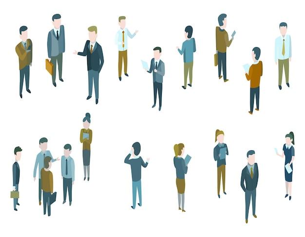 Personas isométricas de negocios en traje formal, discuten o hablan. conversación en estilo de dibujos animados. grupo de humanos vestidos con traje estricto. equipo de pie juntos.