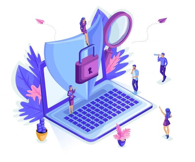 Personas isométricas pequeñas que trabajan con una computadora portátil, protegiendo la información del robo