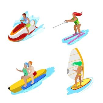 Personas isométricas sobre la actividad acuática. mujer surfista, esquí acuático, hombre hidrociclo. vector ilustración plana 3d