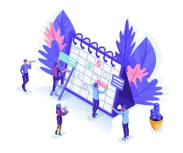 Las personas isométricas trabajan juntas en la industria web. la gente pequeña hace un horario en línea.
