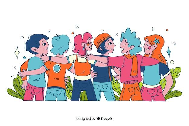 Personas jóvenes abrazándose juntos dibujados a mano