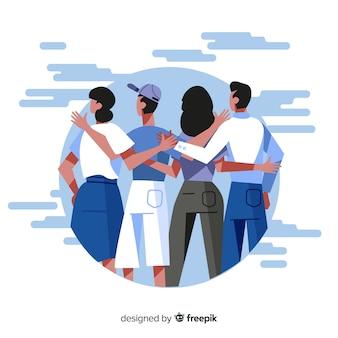 Personas jóvenes abrazándose juntos en diseño plano
