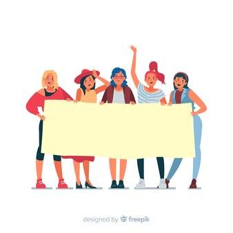Personas jóvenes sujetando un cartel vacío