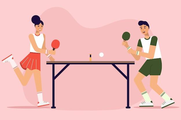 Personas jugando tenis de mesa