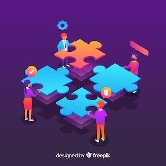 Personas juntando piezas de puzzle