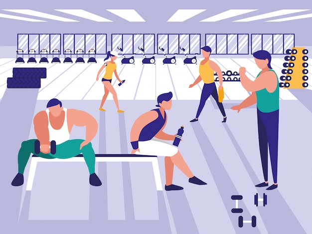 Personas levantando pesas en el gimnasio