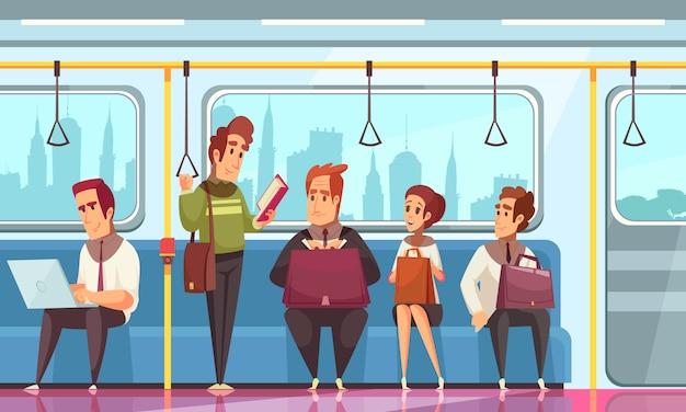 Personas leyendo libros en metro con símbolos de transporte planos