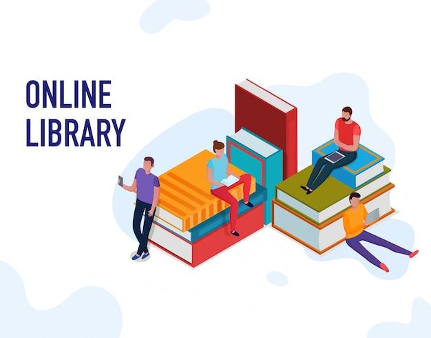 Personas leyendo libros y usando la biblioteca en línea isométrica 3d