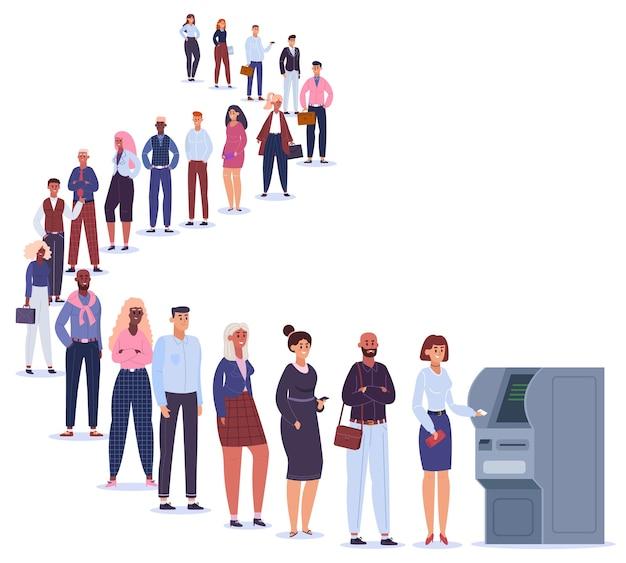 Personas en línea de cajeros automáticos. personajes masculinos y femeninos en la cola esperan la transacción del terminal, línea de pago bancario a la ilustración del cajero automático. línea curva a cajero automático, pago bancario cerca de la máquina terminal