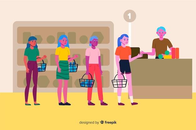 Personas en línea esperando para pagar
