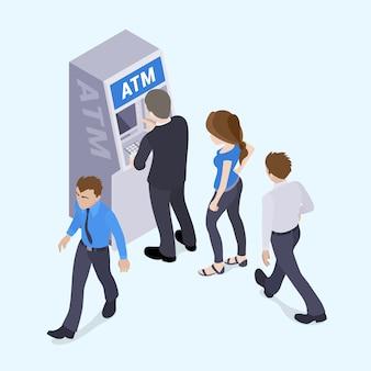 Personas en línea frente al cajero automático.