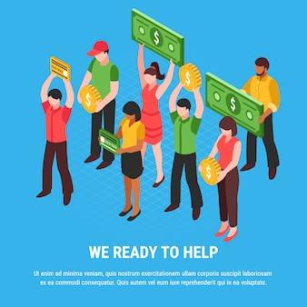Personas listas para recibir ayuda cartel isométrico con personajes jóvenes con carteles imitando monedas, billetes y tarjetas de ilustración