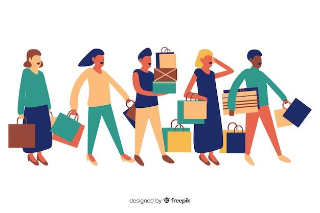 Personas llevando bolsas de la compra