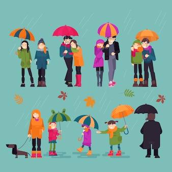 Personas en lluvia hombre mujer personajes sosteniendo paraguas caminando con niños perro en otoño lluvioso con hojas ilustración conjunto de encantadora pareja al aire libre en el otoño aislado en el fondo