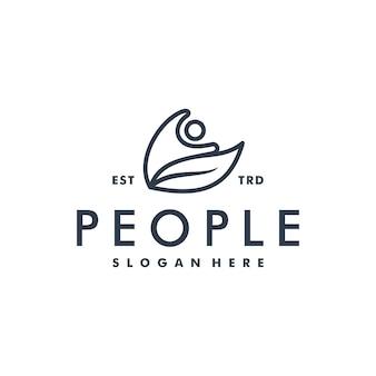 Personas y logotipo de hoja abstracta logotipo de icono humano