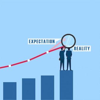Las personas con magnificación analizan el objetivo y la metáfora del desarrollo de la expectativa y la realidad. ilustración de concepto plano de negocios.