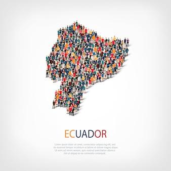 Personas mapa país ecuador