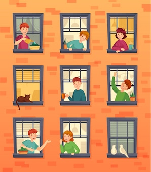 Personas en marcos de ventanas. comunicando vecinos, mirando por la ventana y residentes urbanos dibujos animados ilustración vectorial