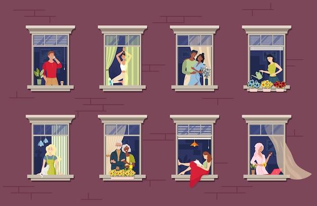 Personas en marcos de ventanas concepto de estancia en casa vecinos que viven en apartamentos.
