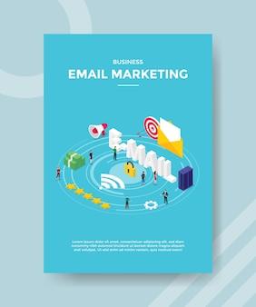 Personas de marketing por correo electrónico de negocios de pie correo electrónico texto candado servidor dinero para plantilla de banner y volante