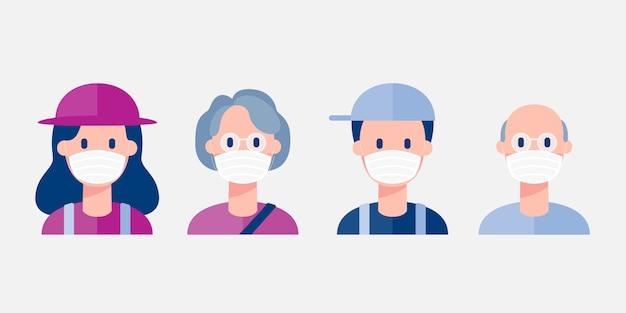 Personas con máscara médica. ilustración de personajes
