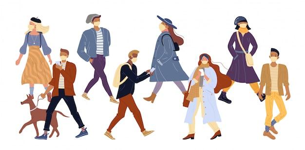 Personas en máscara protectora médica caminando