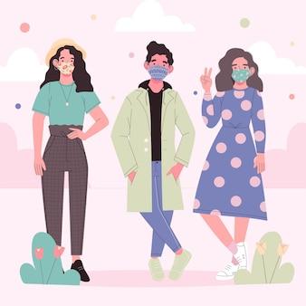 Personas con máscara de tela y de pie vector gratuito