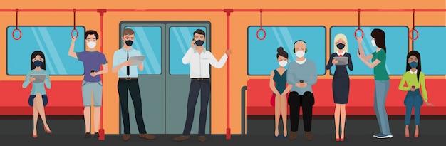 Personas en máscaras con dispositivos en la ilustración del concepto de personaje de metro