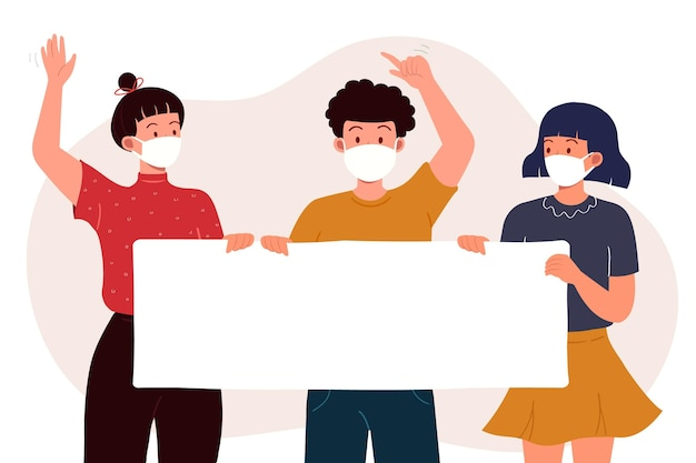 Personas con máscaras médicas con carteles.