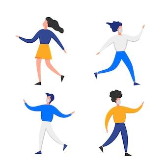 Personas con máscaras médicas gesticulando con las manos aisladas sobre fondo blanco. brote de coronavirus 2019-ncov. concepto de epidemiología pandémica. vector ilustración plana.
