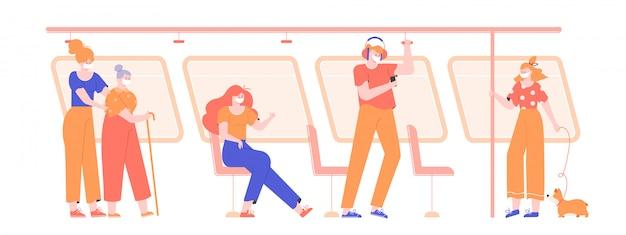 Personas con máscaras médicas en transporte público durante una pandemia de virus. influenza, protegerse a sí mismo y a otros de la enfermedad. pasajeros del metro, autobús, tranvía. ilustración plana