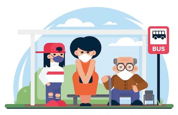 Personas con máscaras en la parada de autobús. cuarentena, coronavirus covid-19, 2019-ncov la neumonía se ha extendido a muchas ciudades de todo el mundo ilustración de dibujos animados