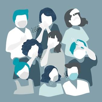 Personas con máscaras para prevenir personajes de coronavirus