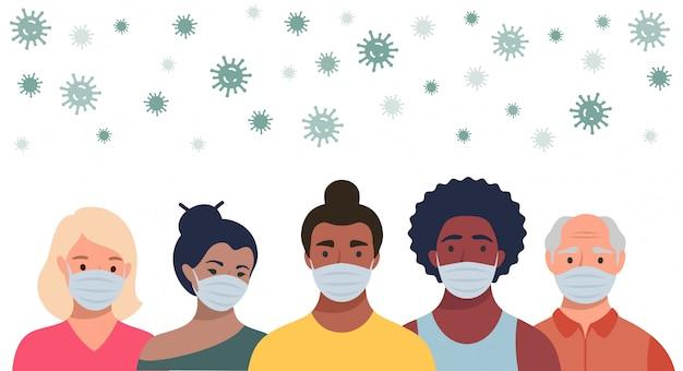 Personas con máscaras protectoras y coronavirus volador en estilo plano. hombres y mujeres con máscaras médicas para prevenir enfermedades, gripe, concepto de cuarentena.