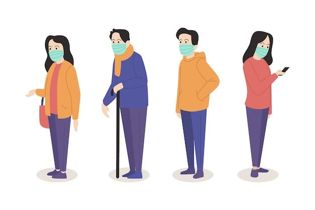 Personas con mascarilla médica