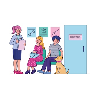 Personas con mascotas esperando al médico en la cola